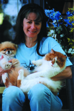 Sandy Lerner with her pets