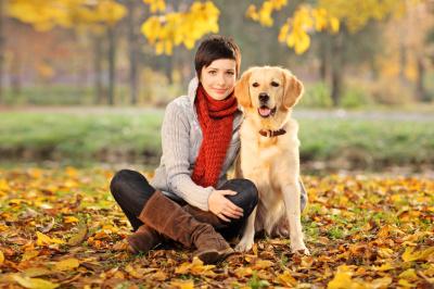 Beautiful woman and her dog (Labrador retriever)