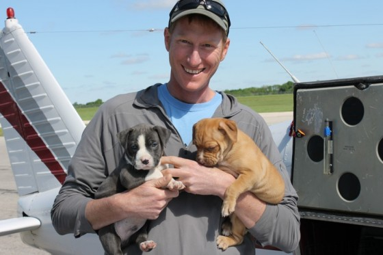 The author with two rescued puppies!