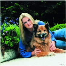 Trisha Yearwood poses with her beloved Roseanne, a Chow and German Shepard Mix.