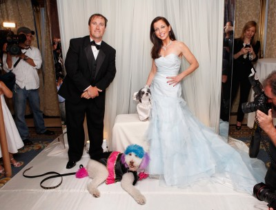 Jake Pasternak and the Groom Chilly Pasternak in a tuxedo, Wendy Diamond and the Bride Baby Hope Diamond in a Michelle Roth wedding dress to raise money for the Humane Society.