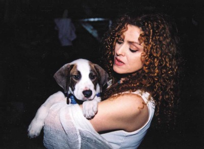 Bernadette Peters and her new furry friend at Broadway Barks
