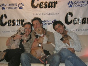 Wendy & Lucky Diamond with Thom and Paco Filicia, and Jai Rodriguez and a rescue dog of Queer  Eye For The Straight Guy.