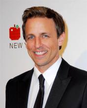 Comedian Seth Myers resides in NYC with his Italian Greyhound, Frisbee.