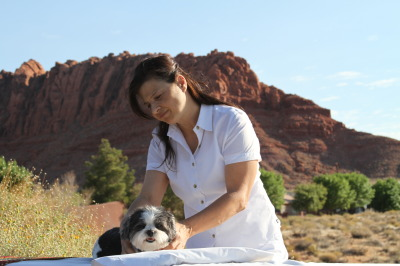 Baby Hope gets a puppy massage at the Red Mountain Spa!