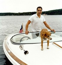 Thom Filicia on his boat with his dog.