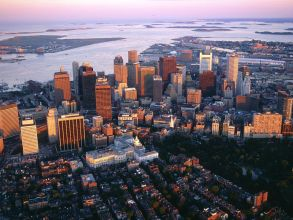 Aerial view of Downtown Boston