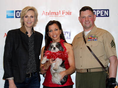 (L-R)Glee's Jane Lynch, Wendy Diamond with baby Hope, and Marine Sgt. Leroy Johnston
