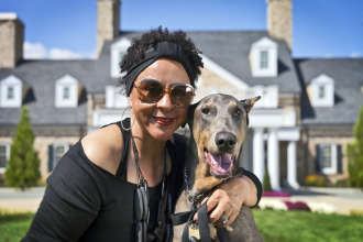 Pet Friendly Hotel! Sheila Johnson with Justice
