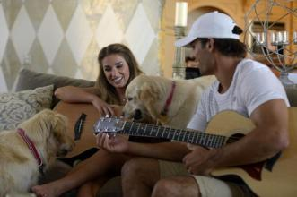 Eric Decker and Jessie James jam with their dogs.