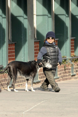 Peter Dinklage walking his dog Kevin in the West Village in New York City