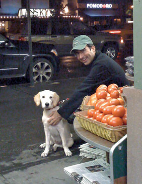 John Oliver and his pup, Hoagie.