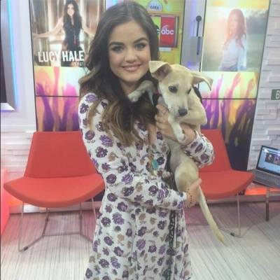 Lucy Hale on set of GMA withHumane Society of New York's Lara Spencer ( a dog of up for adoption)!