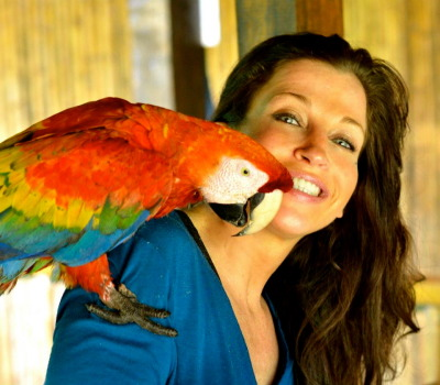 Wendy with the Scarlet Macaw