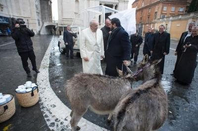 Pope Francis with his donkeys