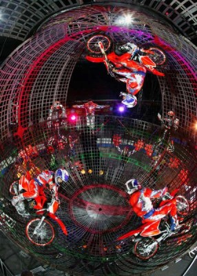 The Globe of Death, an act in the Ringling Bros. and Barnum & Bayley Circus Show.
