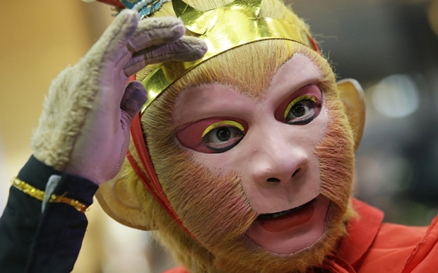 , Feb. 3, 2016 photo, a Chinese man, dressed as the legendary Monkey ...