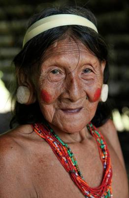 a Huaorani woman at the Huorani Ecolodge